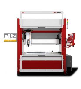 CNC Fräsmaschine OverHead Gantry M30 mit geöffneter Tür. Abbildung mit zusätzlichen Optionen