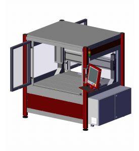 CNC milling machine FlatCom M with hood open