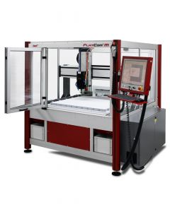 CNC milling machine FlatCom M with hood open (Fig. contains the following extras: handwheel, milling spindle, vacuum table, chip tray and tool changer!)