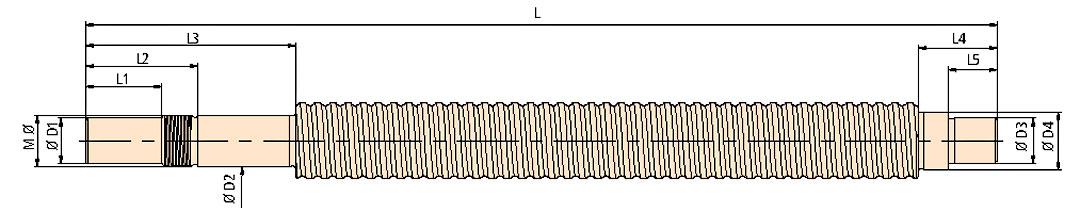 Maßzeichnung Kugelgewindespindel Ø 20