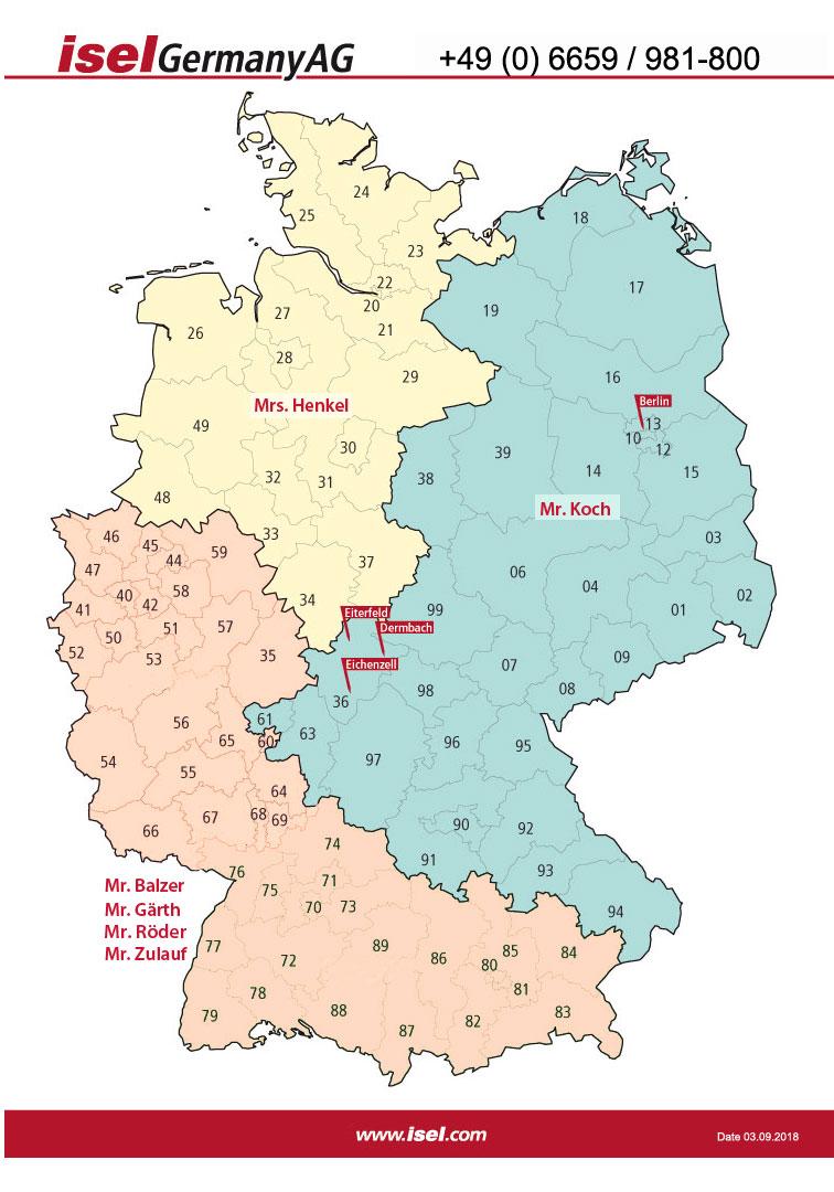 Vertriebsgebiete der isel Germany AG